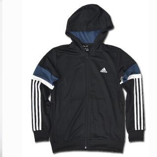 adidas - アディダス 140 黒 フーディ スウェット ジュニア キッズ 新品 5159円
