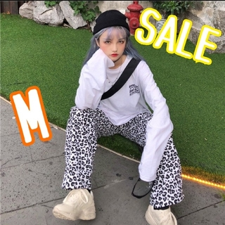 SALE ダルメシアン レオパード柄 ワイドパンツ カジュアル 韓国 M(カジュアルパンツ)