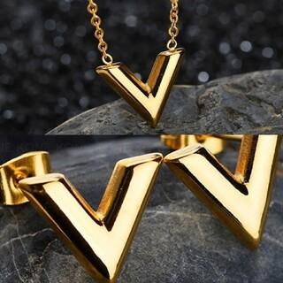 Vロゴ ピアス ネックレス ゴールド セット(ネックレス)