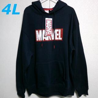 マーベル(MARVEL)のMARVEL 新品 4L マーベル 裏起毛 ビッグロゴ ネイビー(パーカー)