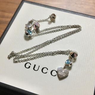 Gucci - GUCCI カラーストーン ネックレス ブルー ペンダント グッチ 水色