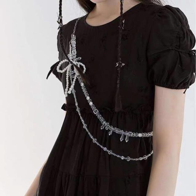 Ameri VINTAGE(アメリヴィンテージ)のlitmus ameri vintage パール ビーズ ハーネス レディースのファッション小物(ベルト)の商品写真