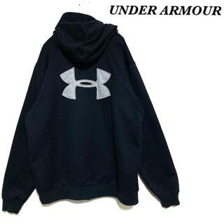 UNDER ARMOUR - 【美品】UNDER ARMOUR ジップパーカー アンダーアーマー 刺繍ロゴ