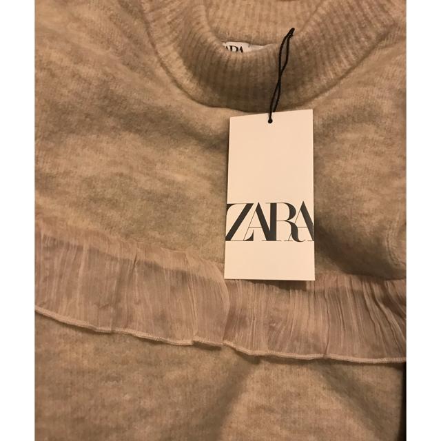 ZARA(ザラ)の24時迄タイムセール❣️新品❤︎ZARAオーガンザコンビニットセーターフリル今期 レディースのトップス(ニット/セーター)の商品写真