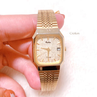 【Croton】国産 オールゴールド 腕時計 日付つき 電池交換済み 美品