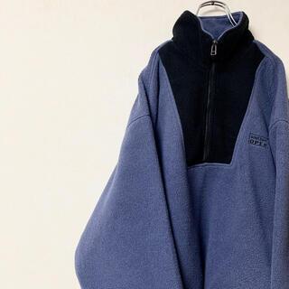 フリースジャケット 90年代 ハーフジップ ゆるだぼ バイカラー 日本製