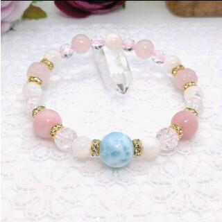天然石ブレスレットラリマーとピンクオパール、マザーオブパール、ローズクォーツ薔薇