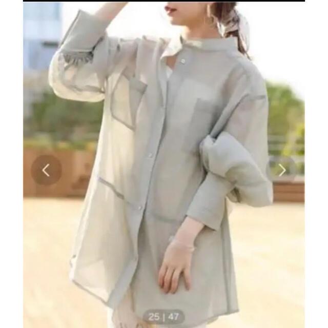 who's who Chico(フーズフーチコ)の完売品!フーズフーチコ シアーブロッキングシャツ/オーガンジーシャツ レディースのトップス(シャツ/ブラウス(長袖/七分))の商品写真