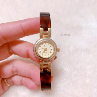 【Lamue】べっ甲カラー ラウンド文字盤 腕時計 電池交換済み