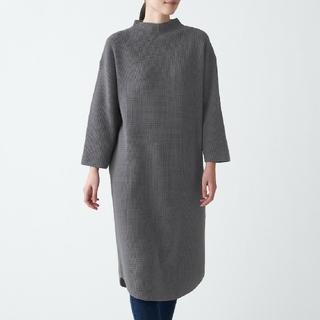 MUJI (無印良品) - インド綿混 ワッフル編み モックネックワンピース