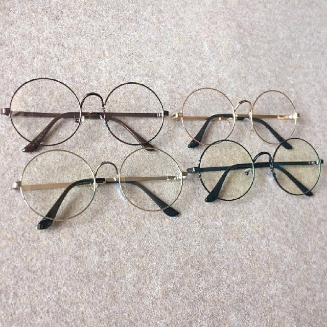 ブラック★伊達眼鏡 丸眼鏡 度無し 丸めがね 伊達めがね 丸メガネ 伊達眼鏡 レディースのファッション小物(サングラス/メガネ)の商品写真