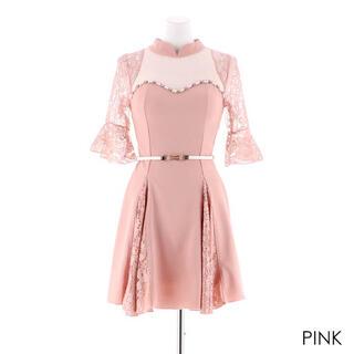 dazzy store - 〔新品未使用〕レース切り替えAラインミニドレス ピンク