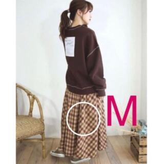 シマムラ(しまむら)のてらさん M 大人気 オンプレー柄 チェックスカート 中茶(ロングスカート)