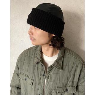 Yohji Yamamoto - vintage 90s イタリア製 フェイクレザー PVC 黒 ニット帽 帽子