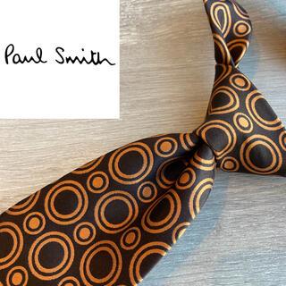 Paul Smith - 【美品】ポールスミス イタリアシルク100%ネクタイ ブランド オレンジ 総柄