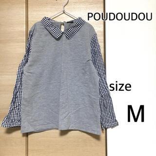 POU DOU DOU - 【長袖】プードゥドゥ冬服ギンガムチェックPOUDOUDOUシャツ紺グレー春服