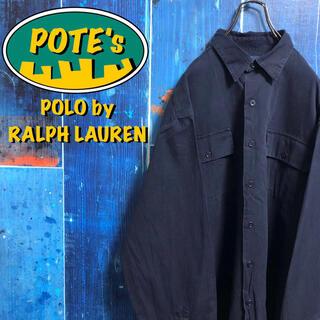 POLO RALPH LAUREN - 【ポロバイラルフローレン】ロゴプリントダブルポケットチノワークシャツ 90s