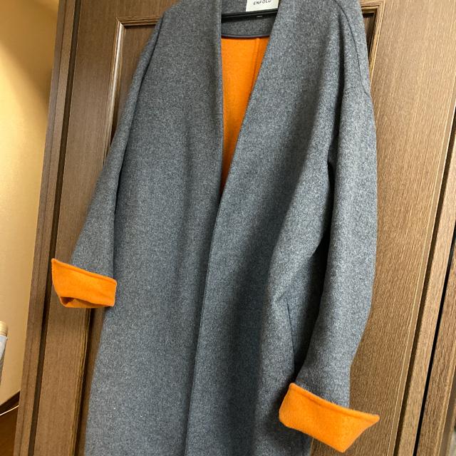 ENFOLD(エンフォルド)の袖オレンジ チャコールグレー サイズ38 ウールリバーノーカラーコート レディースのジャケット/アウター(ノーカラージャケット)の商品写真