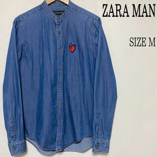 ザラ(ZARA)のZARA MAN ザラ デニム 胸ワンポイント バンドカラーシャツ M(シャツ)