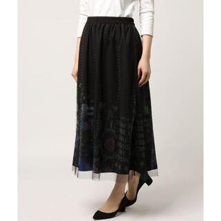 スカラー(ScoLar)のスカラー 柄切替チュール重ねスカート(ロングスカート)