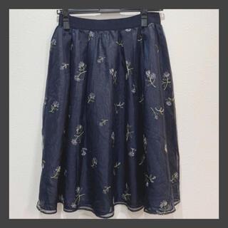STRAWBERRY-FIELDS - ストロベリーフィールズ 花柄スカート スカート 紺 ネイビー