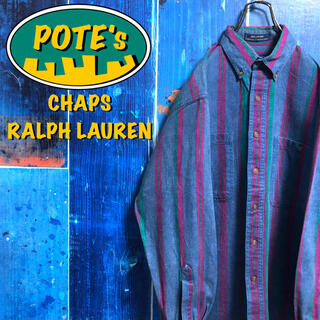 Ralph Lauren - 【チャップスラルフローレン】USA生地Wポケットレトロストライプシャツ 90s