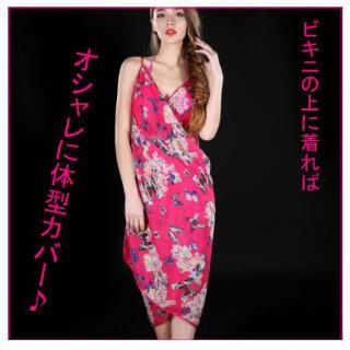 パレオ ビーチラップスカート ローズピンク 蝶 花 ビーチドレス リゾート(その他)