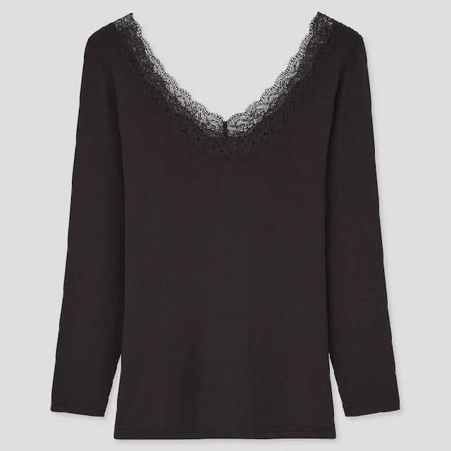 UNIQLO(ユニクロ)のKUWA様専用❇️3XL×2点❇️ヒートテックバレエネックT  八分袖 レディースの下着/アンダーウェア(アンダーシャツ/防寒インナー)の商品写真