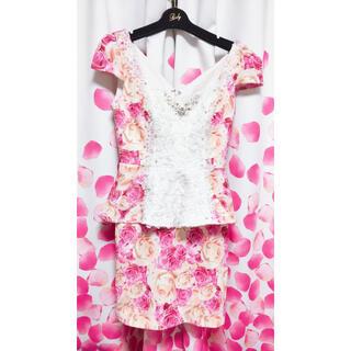 エミリアウィズ(EmiriaWiz)のジュエルズ ミニドレス ペプラムドレス Mサイズ 美品 エミリアウィズ  のお花(ナイトドレス)