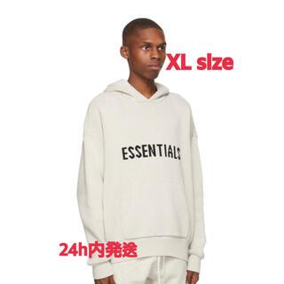エッセンシャル(Essential)のESSENTIALS KNIT LOGO HOODIE OATMEAL XL(パーカー)