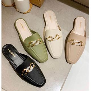 【本日限定セール】ZARAジャンル♡春靴 チェーンフラットシューズ黒