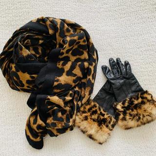 レオパードセット♡リアルレザー&ファー手袋 ストールセット 美品