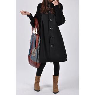ハイネック ウールコート Aライン リブニット かわいい 大きいサイズ 黒(ニットコート)