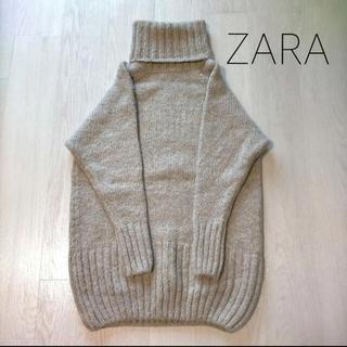 ZARA - ZARAモヘヤ×ウールタートルニットワンピ S