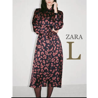 ZARA - 【新品・未使用】ZARA プリント シャツ ワンピース  L