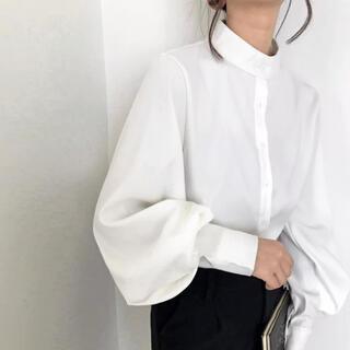 【週末セール!】ボリュームスリーブシャツ ブラウス ホワイト ランタン長袖(シャツ/ブラウス(長袖/七分))