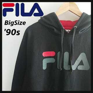 フィラ(FILA)の1015【90年代製】FILA ビッグサイズ パーカー デカロゴ 厚手 裏起毛(パーカー)