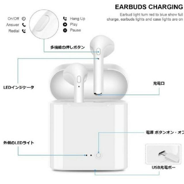 ワイヤレスイヤホン TWS Bluetooth 高音質 完全ワイヤレス スマホ/家電/カメラのオーディオ機器(ヘッドフォン/イヤフォン)の商品写真