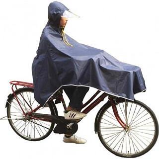 52紺 レインポンチョ レディース 自転車 サイクルレイン 雨具 カッパ 梅雨(レインコート)