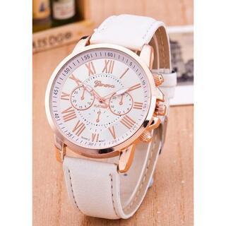 かわいい クォーツ腕時計 シンプル ホワイト 7001-1(腕時計(アナログ))