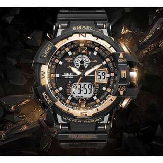 【新品送料無料】メンズ腕時計デジタル多機能メンズLEDブラック×ゴールド   (腕時計(デジタル))