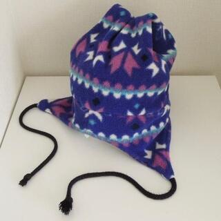 エルエルビーン(L.L.Bean)のLLビーン キッズ フリースキャップ パープル系総柄 USA製(k-077) (帽子)