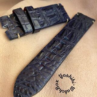 クロコダイル 腕時計ベルト ネイビー (ラグ幅24mm) cro-381(レザーベルト)