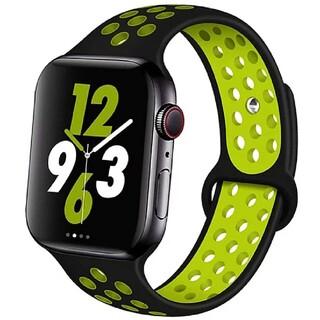 Apple Watch スポーツ バンド 42/44mm ブラック/イエロー(ラバーベルト)