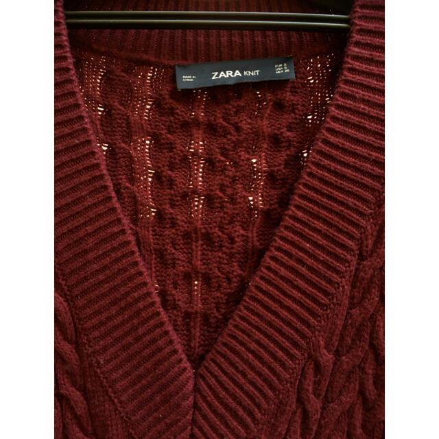 ZARA(ザラ)のZARAザラビッグサイズニットワンピースチュニックボルドーワイン色ざっくりニット レディースのトップス(ニット/セーター)の商品写真
