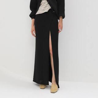 シールームリン(SeaRoomlynn)のシールームリン リネンコンビスリットニットスカート ブラック (ロングスカート)