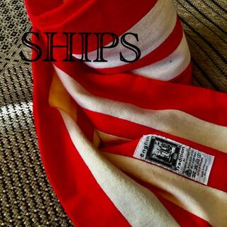 シップス(SHIPS)のMADE IN ENGLAND シップスSHIPSマフラー 赤×オフホワイト(マフラー)