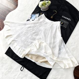 CHANEL - 未使用 CHANEL シャネル フレアライン ホワイト ミルフィーユ スカート