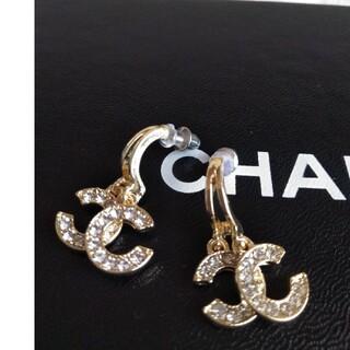 CHANEL - インポート品、揺れるczダイヤ.Silver925針、ゴールドピアス