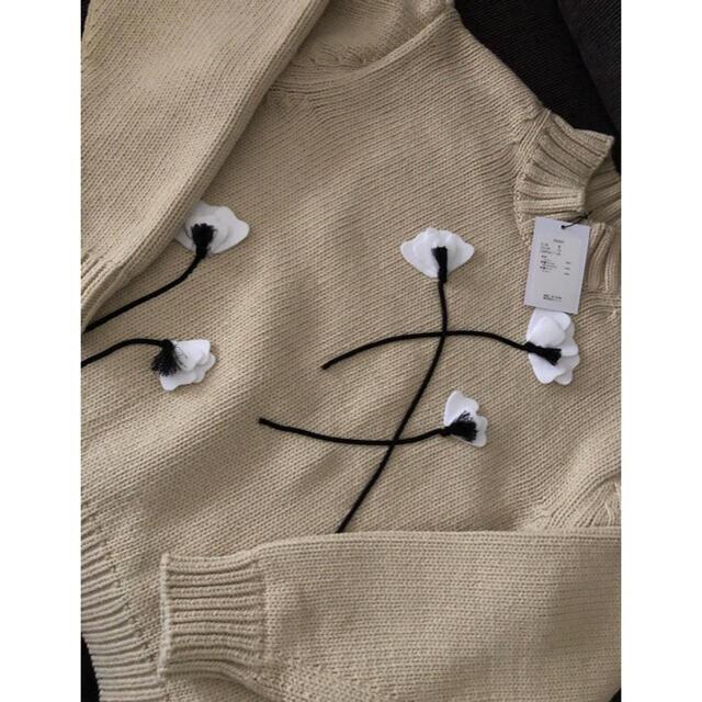 Drawer(ドゥロワー)の新品未使用 セブンテン SEVENTEN アップリケコットンニット M レディースのトップス(ニット/セーター)の商品写真